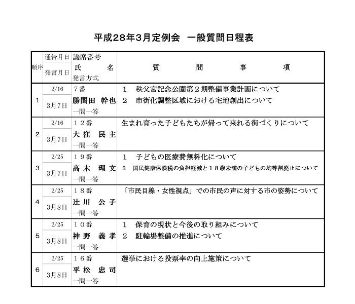 平成28年3月定例会 一般質問日程表