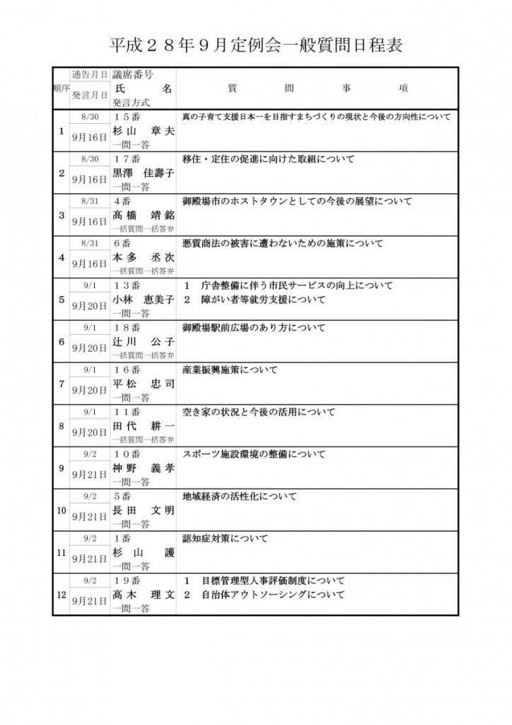 28 一般質問日程表(HP用)