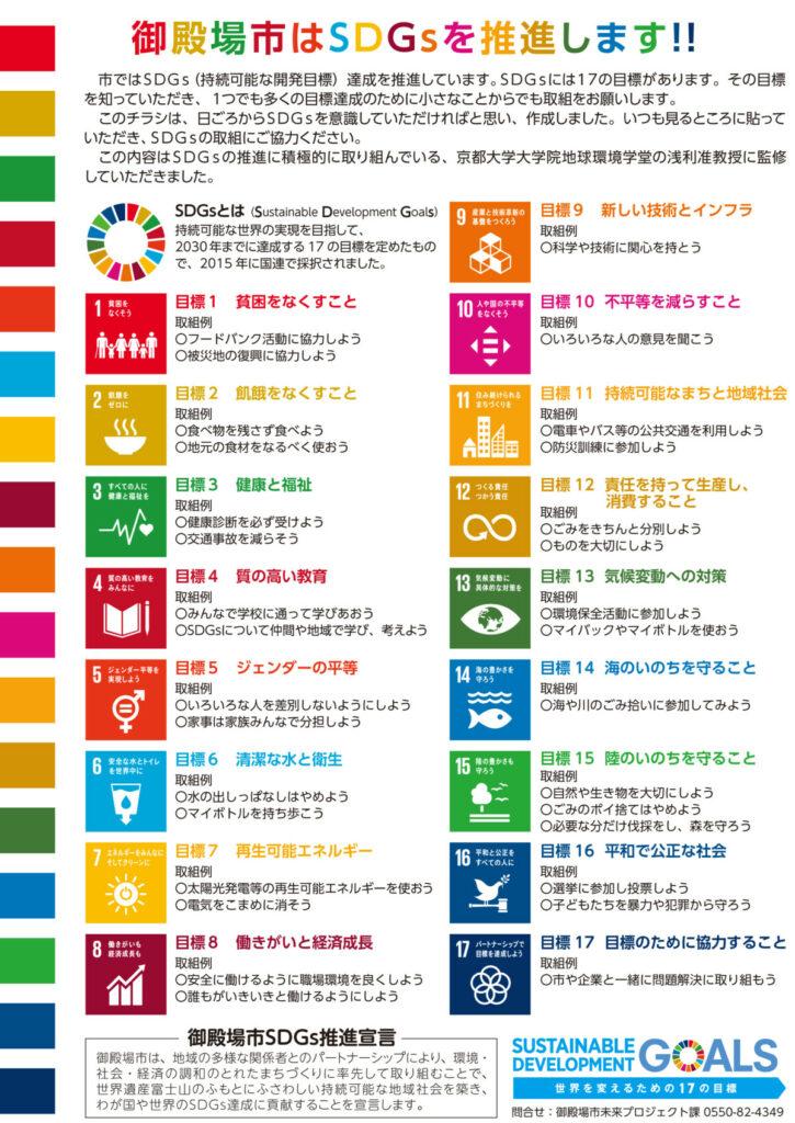 御殿場市 SDGs推進チラシ