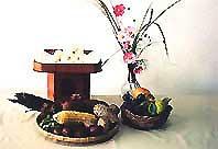 月見だんご、サツマ芋、里芋、枝豆、果物